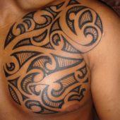 men chest tattoo tribal