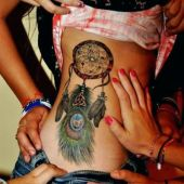 sexy dreamcatcher side tattoos
