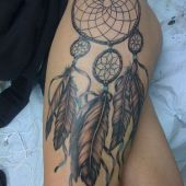 Dreamcatcher sexy thigh tattoo