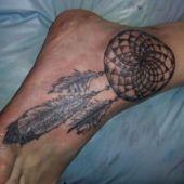 Dreamcatcher ankle tattoo