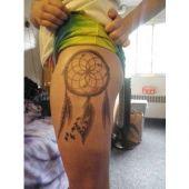 Dreamcatcher tattoo design thigh