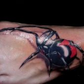3d foot tattoo spider
