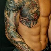 Biomechanic tattoo 3D shoulder