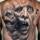 back tattoo ugly face