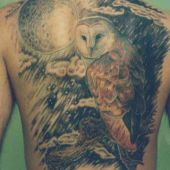 owl back tattoo