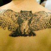 duża sowa na plecach tatuaż