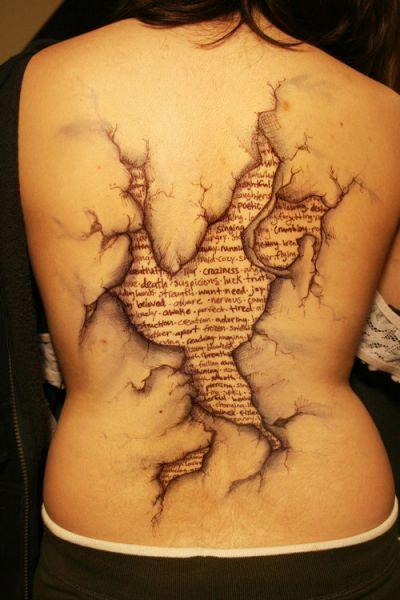 tatuaż 3D na plecach