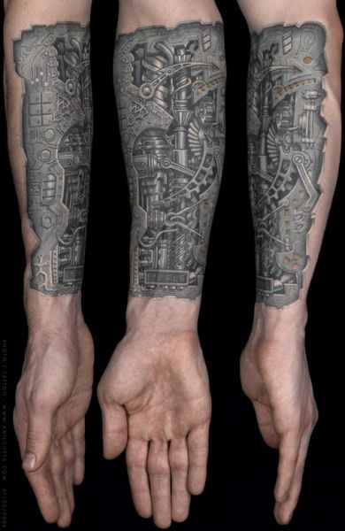 biomechanic tattoo 3D hand