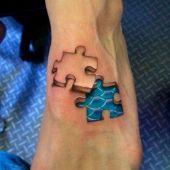 tatuaż 3D na stopie