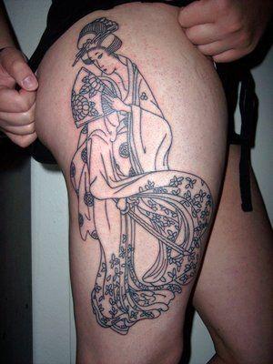 geisha thigh tattoo